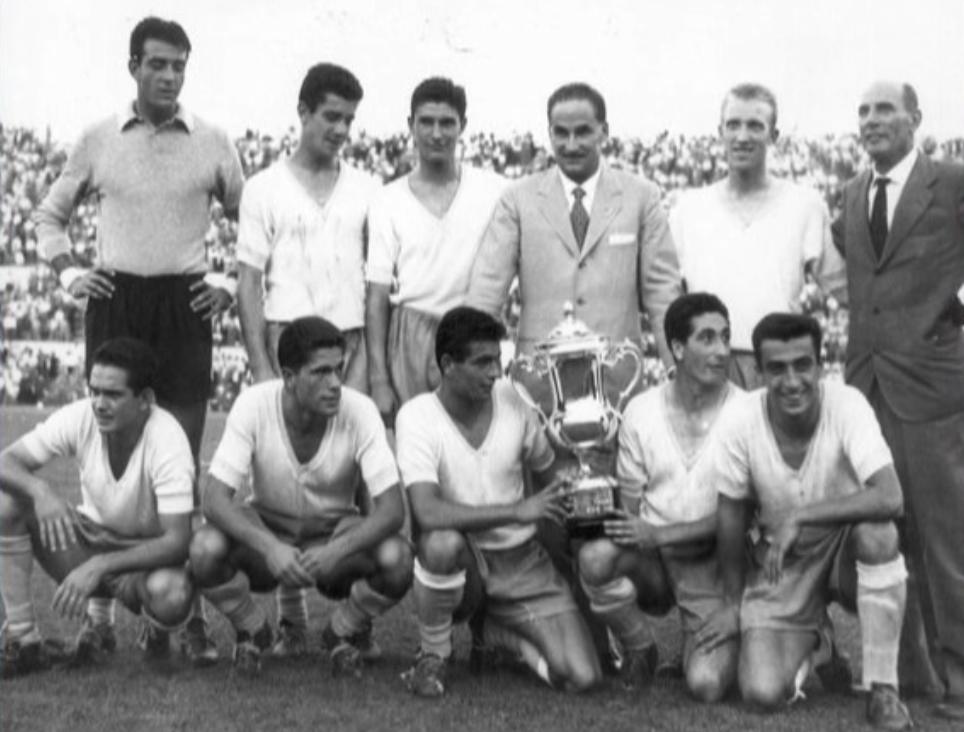 Former Lazio Captain Roberto Lovati Holding the 1958 Coppa Italia