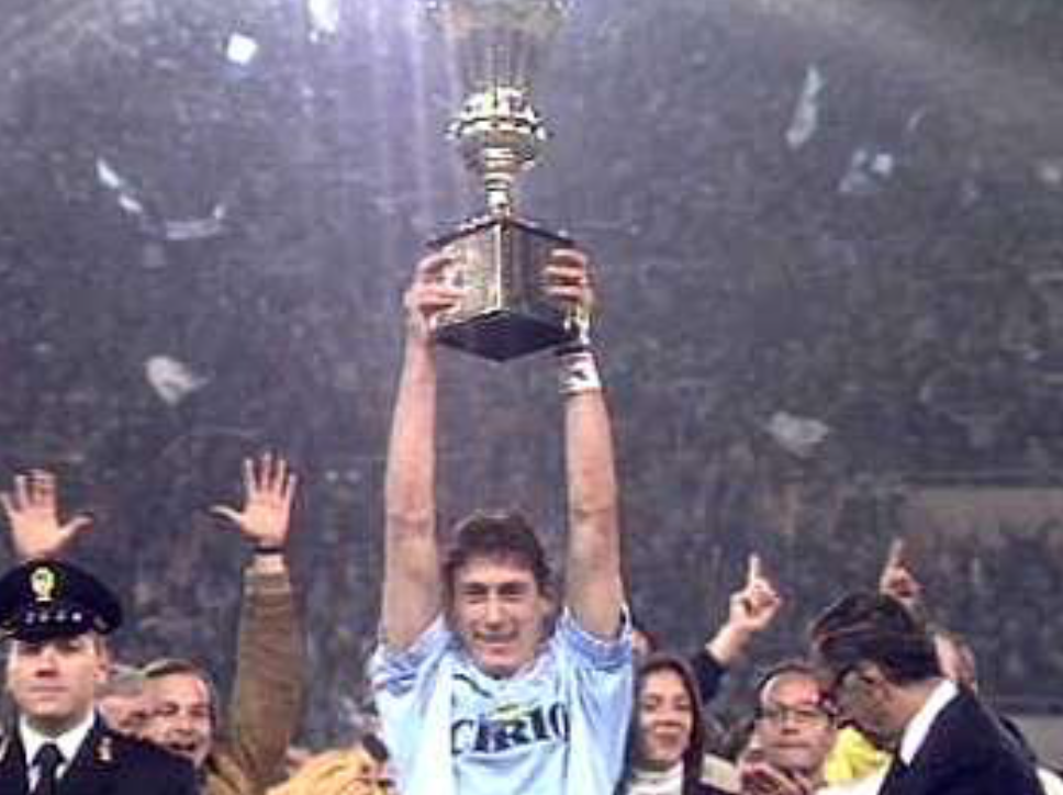 Former Lazio Captain Diego Fuser Hoisting the Coppa Italia