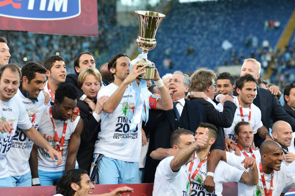 Former Lazio Captain Stefano Mauri Hoisting the Coppa Italia