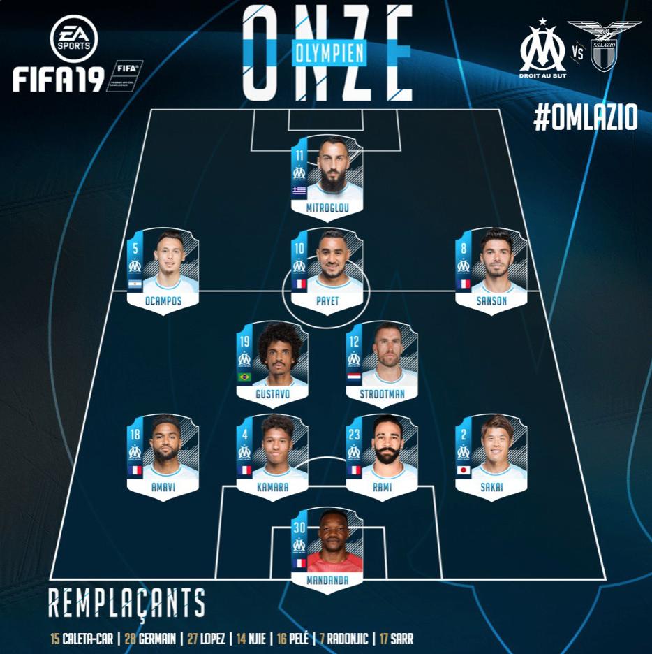 Marseille starting eleven to play Lazio, Source - OlympiquedeMarseilleOfficial