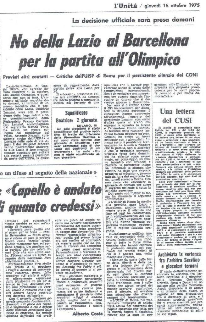 22 October 1975, Source- LazioWiki.Org