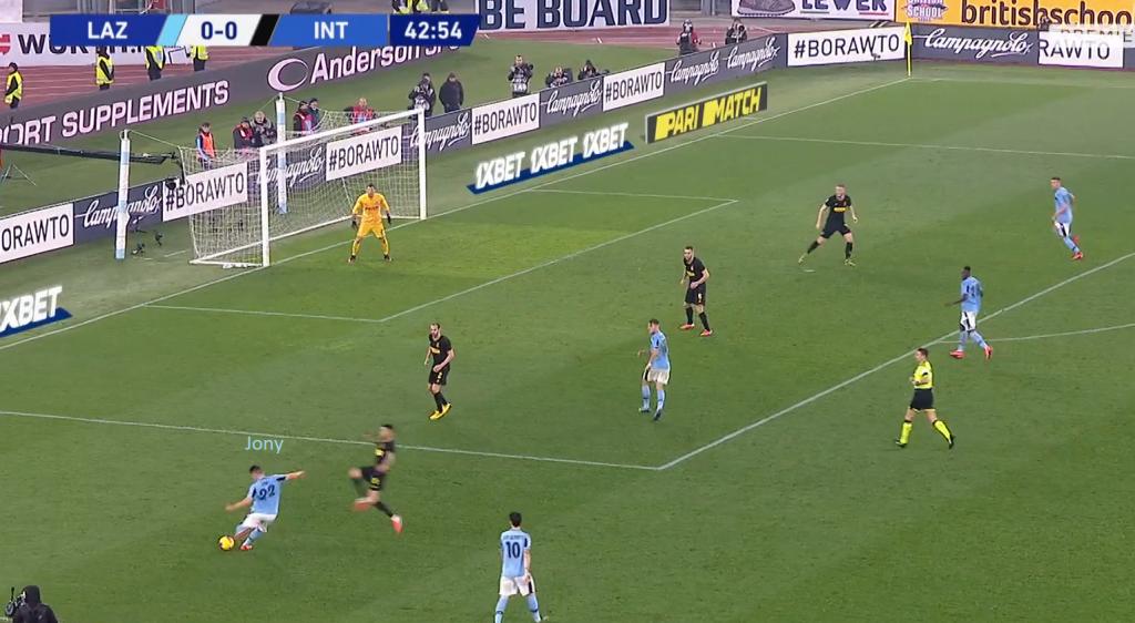 Jony's Poor Cross Against Inter, Source - Premier Sports
