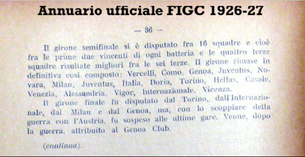 Page 36 of the 'FIGC Official Yearbook of 1926/1927', Source- LazioStory.it