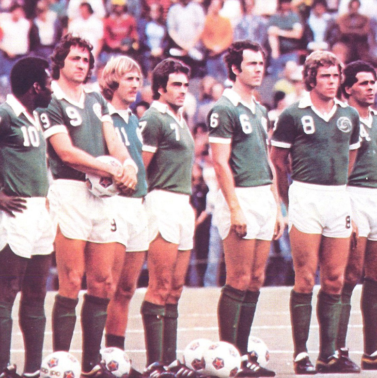 Giorgio Chinaglia (9) standing next to Pele (10) with the New York Cosmos, Source- Wikimedia