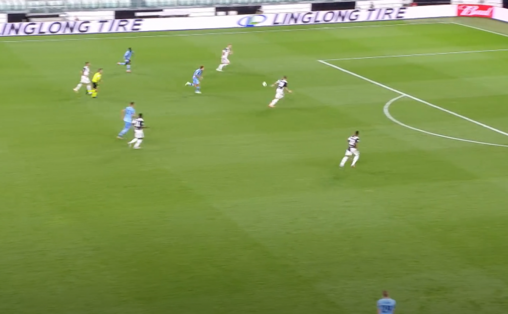 2019/20 Serie A, Matchday 34, Juventus vs Lazio: Francesco Acerbi Pass Bounces Between Matthijs de Ligt and Leonardo Bonucci
