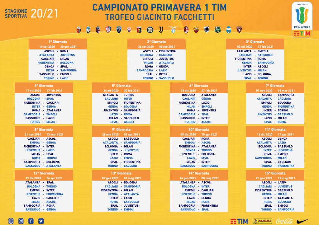 Lazio Primavera's 2020/21 Campionato Primavera 1 TIM Calendar, Source- Official S.S. Lazio
