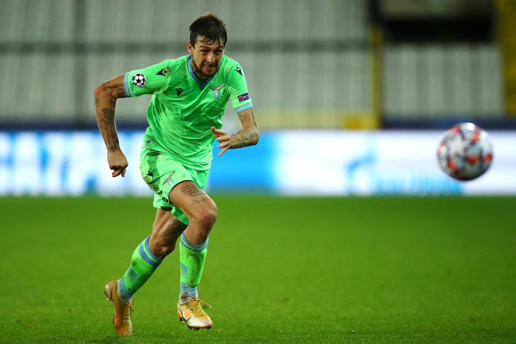 BRUGGE, BELGIUM - OCTOBER 28: Francesco Acerbi of SS Lazio in action during the UEFA Champions League Group F stage match between Club Brugge KV and SS Lazio at Jan Breydel Stadium on October 28, 2020 in Brugge, Belgium. (Photo by Dean Mouhtaropoulos/Getty Images)