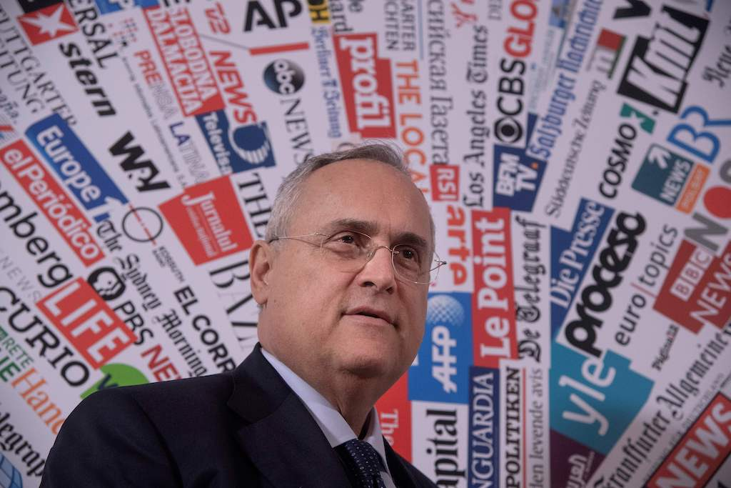 "Owner and President of Italian Serie A football club SS Lazio Rome, Italian entrepreneur Claudio Lotito arrives to hold a press conference at the Foreign Press Association in Rome on December 18, 2019, a day after a Serie A anti-racism campaign triggered criticism. - The head of Serie A on December 17, 2019 apologised for using art featuring monkeys in an anti-racism campaign, after having initially said the work aimed to defend the values of ""integration, multiculturalism and fraternity"", but was forced to backpedal after widespread criticism and ridicule. (Photo by Tiziana FABI / AFP) (Photo by TIZIANA FABI/AFP via Getty Images)"