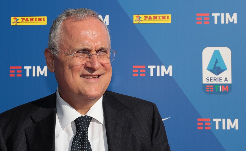 MILAN, ITALY - JULY 29: SS Lazio president Claudio Lotito attends the Serie A 2019/2020 fixture unveiling on July 29, 2019 in Milan, Italy. (Photo by Emilio Andreoli/Getty Images for Lega Serie A)
