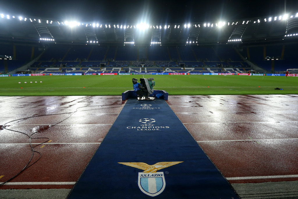 ROME, ITALY - DECEMBER 08: General view inside the stadium prior to the UEFA Champions League Group F stage match between SS Lazio and Club Brugge KV at Stadio Olimpico on December 08, 2020 in Rome, Italy. Sporting stadiums around Italy remain under strict restrictions due to the Coronavirus Pandemic as Government social distancing laws prohibit fans inside venues resulting in games being played behind closed doors. (Photo by Paolo Bruno/Getty Images)