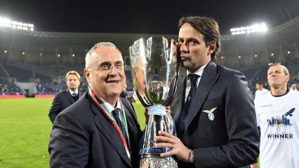 Claudio Lotito and Simone Inzaghi / Lazio