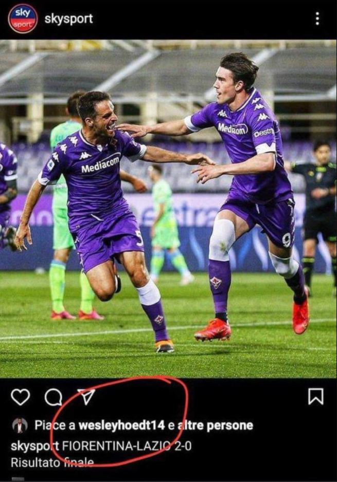 Wesley Hoedt likes IG post about loss to Fiorentina